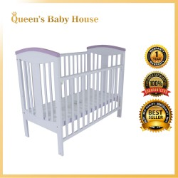 Royalcot R452 Multi Function Wooden Baby Cot (White Purple) with Height Adjustable Layer