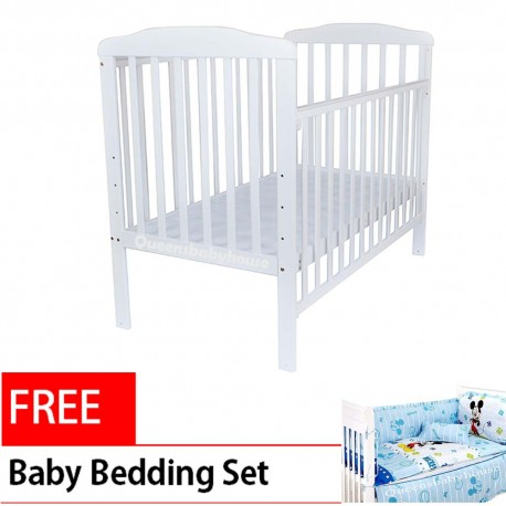 Royalcot R8310 white Large baby cot Bed wooden FREE Bedding set Mickey