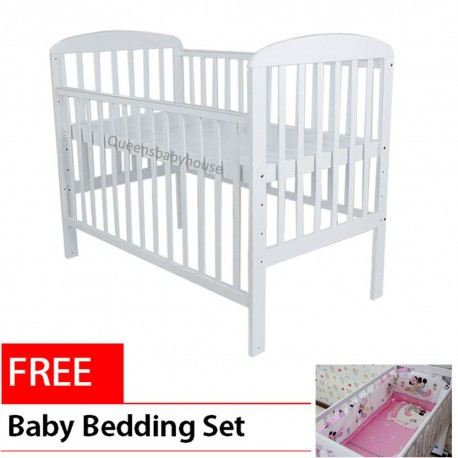 Royalcot R8309 White (size 70x130cm) Large Baby Cot Bed Wooden(White) FREE 6 in 1 Bedding Set Pink Mickey Mouse