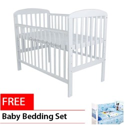 Royalcot R8309 White Large Baby Cot Bed Wooden FREE Bedding Set Blue Mickey Mouse Size(70x130cm)