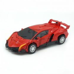 Die Cast Pull Back Car Transwarrior, One Press Transform - Red