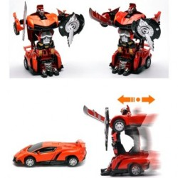 Toys Funtastic Die Cast Pull Back Car Transwarrior, One Press Instant Transform - Orange