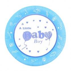"Onniso 9"" Bright Colour Little Boy  and  Girl Party Dinner Paper Plate-Blue (50pcs)"