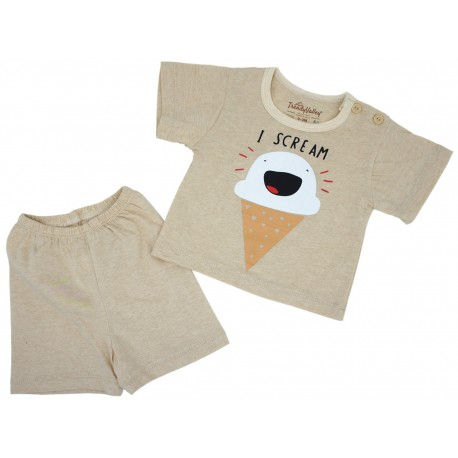 Trendyvalley Organic Cotton Short Sleeve Baby Shirt and Pants (I-Scream)