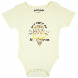 Trendyvalley PREMIUM Organic Cotton Rompers Short Sleeve Baby Shirt (Ice Cream)