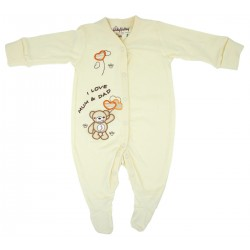 Trendyvalley Organic Cotton Baby One Piece Suit Romper With Covered Glove And Socks (I Love Mum & Dad)