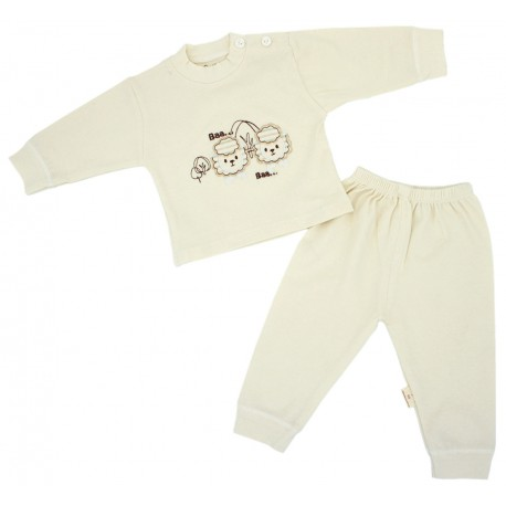 Trendyvalley Organic Cotton Long Sleeve Long Pants Baby Shirt/Sleepwear (Baa Baa Sheep)