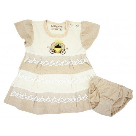Trendyvalley PREMIUM Organic Cotton Baby Dress with Panty (Pumpkin Carriage)