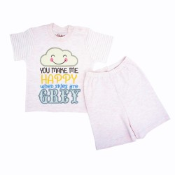 Trendyvalley Organic Cotton Short Sleeve Baby Shirt and Pants (Pink Cloud)