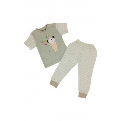 TRENDYVALLEY Organic Cotton Short Sleeve Baby Shirt and Long Pants (Bear)