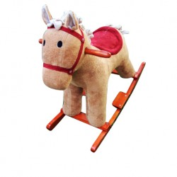 Woodalion Brown Puffy Horse Infant Rocker
