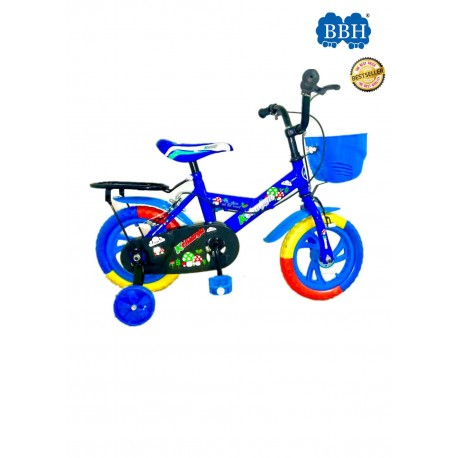 BBH Child Bicycle Kids Bike 12Inches with Basket and Sea - Blue (Complete Installation)